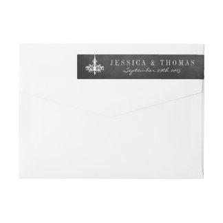 Elegant Chandelier Chalkboard Wedding Collection Wraparound Return Address Label