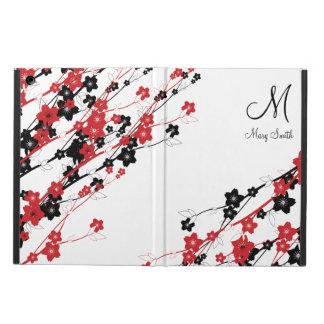 Elegant Cherry Blossom Monogram Red iPad Air Cover
