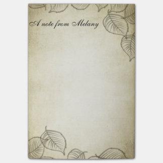 Elegant chic contemporary leaf vintage post-it® notes
