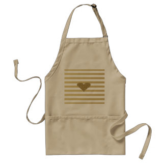 Elegant Chic  Faux Gold Glittery  Heart On Stripes Standard Apron