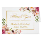 Elegant Chic Floral Gold Frame Thank You Card