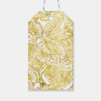 Elegant chic gold foil hand drawn floral pattern gift tags