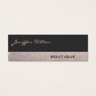 Elegant chic luxury contemporary linen glittery mini business card