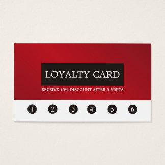 Elegant Chic Red Beauty Salon Loyalty Card