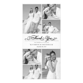 Elegant Chic Scalloped Band Wedding Thank You Photo Cards
