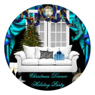 Elegant Christmas Dinner Holiday Party Blue White 13 Cm X 13 Cm Square Invitation Card