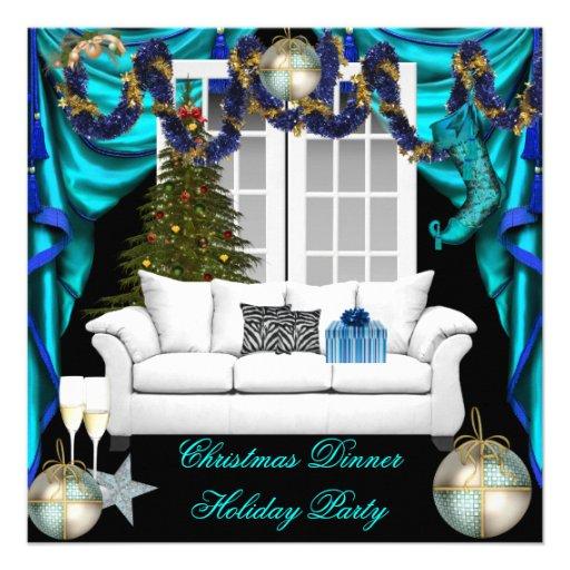 Elegant Christmas Dinner Holiday Party Blue White Custom Invite
