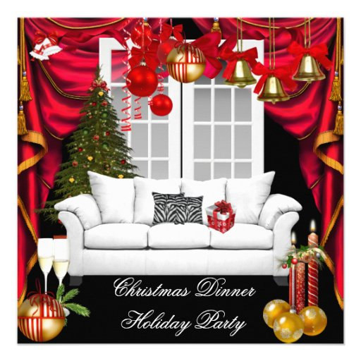 Elegant Christmas Dinner Holiday Party Red White Invitations