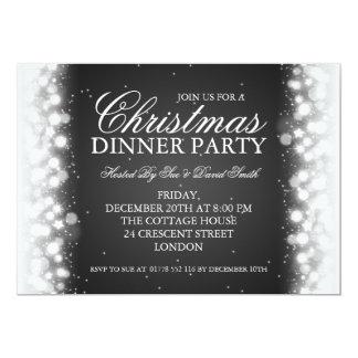 Elegant Christmas Dinner Party Magic Sparkle Black 5x7 Paper Invitation Card