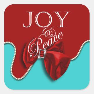 Elegant Christmas greeting red blue Stickers