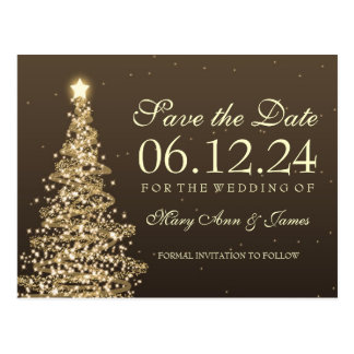 Elegant Christmas Save The Date Gold Postcard