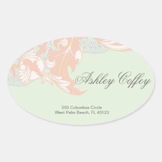 Elegant Classy Florals - Green, Apricot, Pistachio Oval Sticker