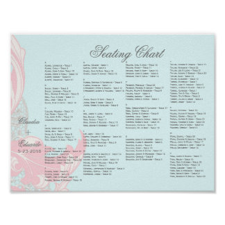 Elegant Classy Florals - Pastel Pink, Powder Blue Poster