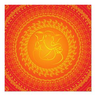 "Elegant Classy Ganesh Indian Wedding Invitation 5.25"" Square Invitation Card"
