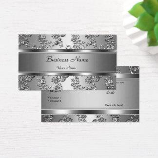 Elegant Classy Silver Embossed Floral Look Business Card
