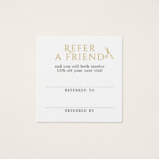 Elegant Clean White Faux Gold Scissors Referral Square Business Card