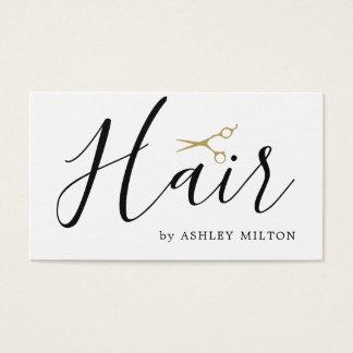 Elegant Clean White Scissors Hair Stylist Business Card