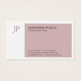 Elegant Color Modern Professional Monogram Plain Business Card