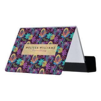 Elegant Colorful Exotic Floral Design Desk Business Card Holder
