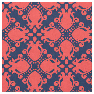 Elegant coral and navy blue fabric