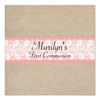 Elegant Coral Burlap Lace First Communion Invite