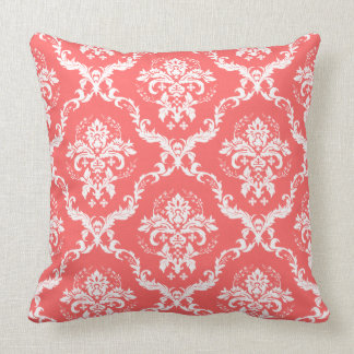 Elegant Coral-Red & White Floral Damasks Throw Pillow