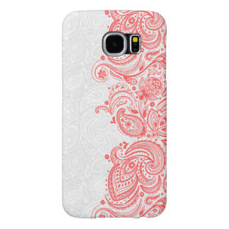 Elegant Coral-Red & White Floral Paisley Lace