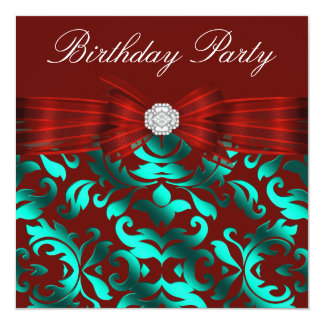Elegant Cranberry Red Teal Blue Birthday Party Card