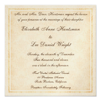 Elegant Cream Damask Monogrammed Wedding Invitatio Card