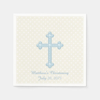 Elegant Cross Blue Christening Paper Napkin