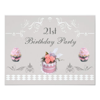 Elegant Cupcakes Pink & Grey 21st Birthday 11 Cm X 14 Cm Invitation Card