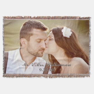 Elegant Custom Wedding Photo Throw Blanket