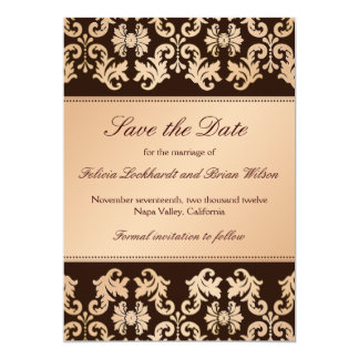 Elegant Damask Autumn Reverie Wedding Save Date Card