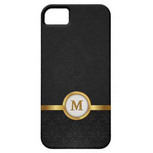 Elegant Damask & Black Leather with Gold Monogram iPhone 5 Cases