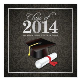 "Elegant Damask Class of 2014 Graduation 5.25"" Square Invitation Card"