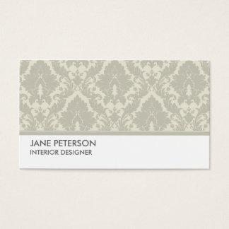 Elegant Damask Floral Pattern Interior Designer Business Card