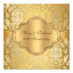 Elegant Damask Floral Swirl Gold 50th Anniversary 13 Cm X 13 Cm Square Invitation Card