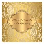 Elegant Damask Floral Swirl Gold 50th Anniversary Custom Invite