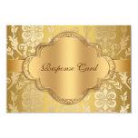 Elegant Damask Floral Swirl Gold Anniversary RSVP 9 Cm X 13 Cm Invitation Card