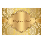 Elegant Damask Floral Swirl Gold Anniversary RSVP Personalised Invites
