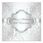 Elegant Damask Floral Swirl Silve 25th Anniversary 13 Cm X 13 Cm Square Invitation Card