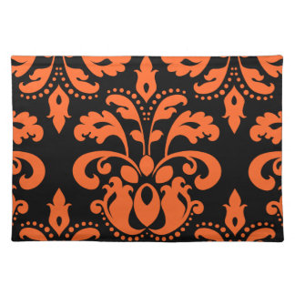 Elegant damask in black and orange for Halloween Placemat