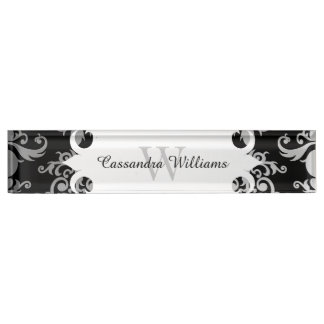 Elegant damask monogram pattern nameplate