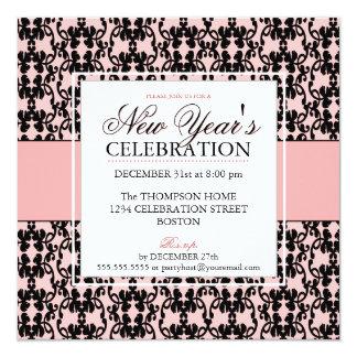 Elegant Damask New Years Eve Party Invitations