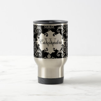 Elegant damask pattern monogram travel mug