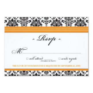 Elegant Damask RSVP Card (orange) 9 Cm X 13 Cm Invitation Card