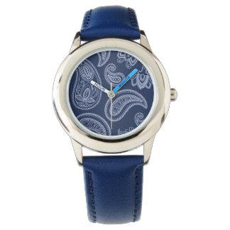Elegant dark blue paisley pattern watch