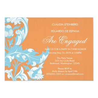 Elegant Dark & Classy Florals - Burnt Orange, Blue 13 Cm X 18 Cm Invitation Card
