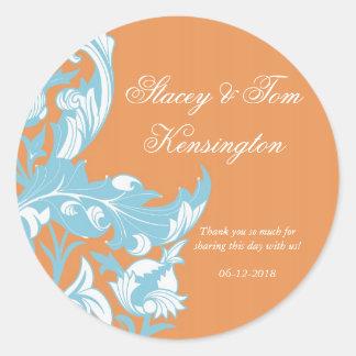 Elegant Dark & Classy Florals - Burnt Orange, Blue Round Sticker