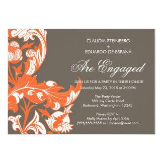 Elegant Dark & Classy Florals - Dark Gray, Orange Card